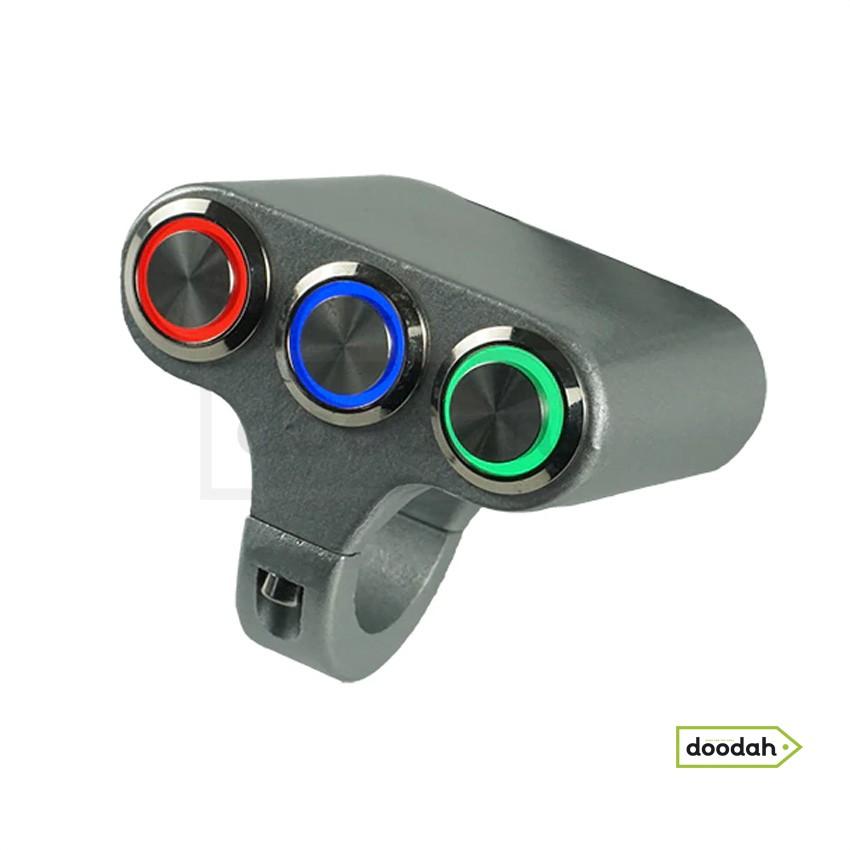 Мото кнопка на руль з підсвічуванням - VGEBY Triple Silver. Гарантія 6 міс.