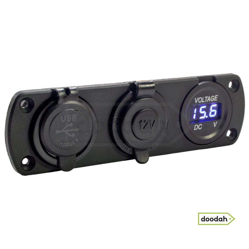 Авто / Мото станція (USB зарядний пристрій + вольтметр + порт прикурювач) Recessed Flow Blue, IP54. Гарантія 6 міс.