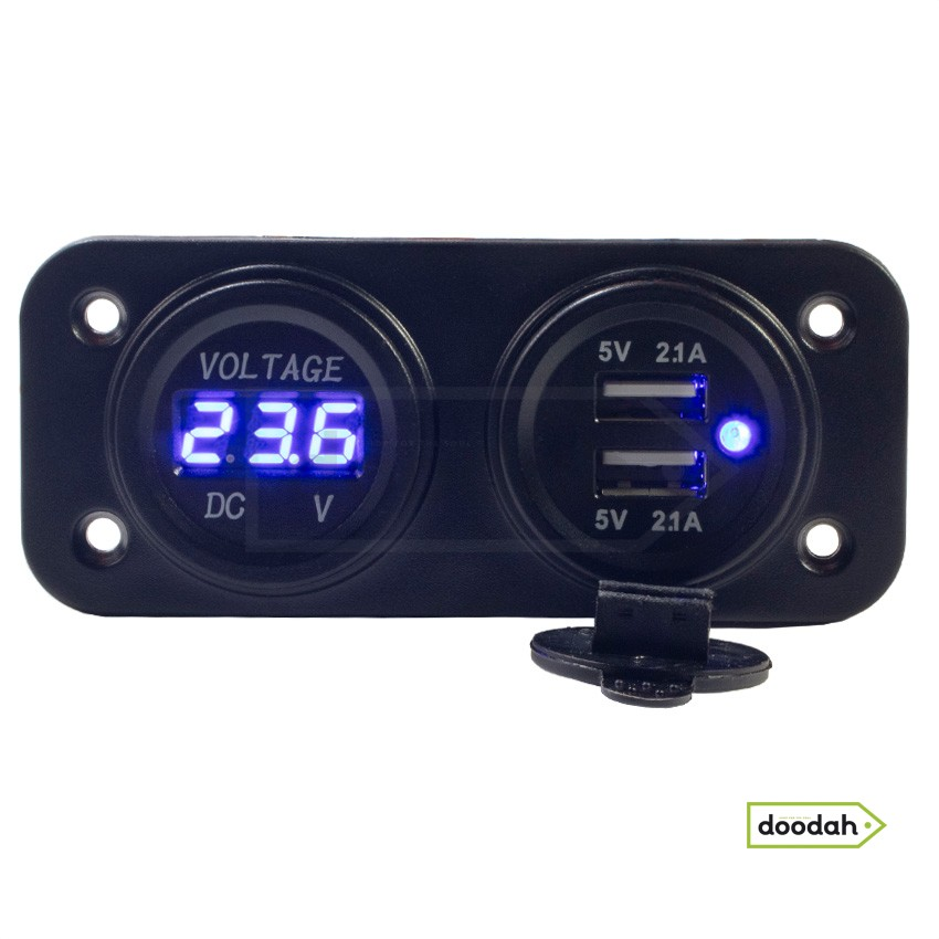Авто / Мото USB зарядний пристрій - Recessed Twin Volt Blue, IP54. Гарантія 6 міс.