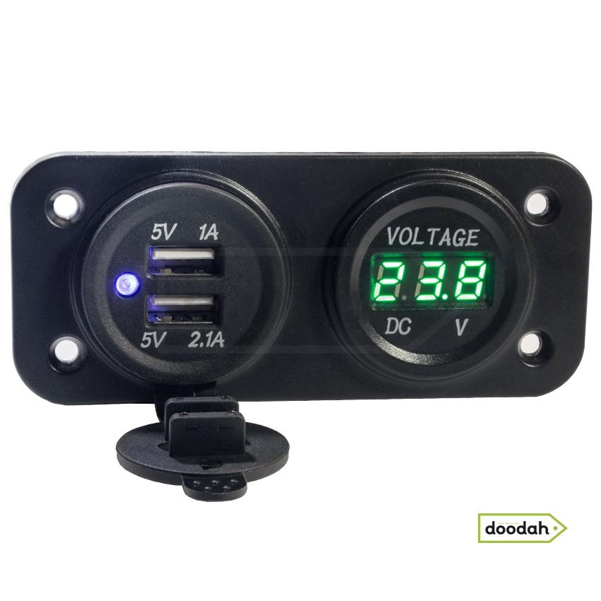 Авто / Мото USB зарядний пристрій - Recessed Twin Volt Green, IP54, 2,1А. Гарантія 6 міс.