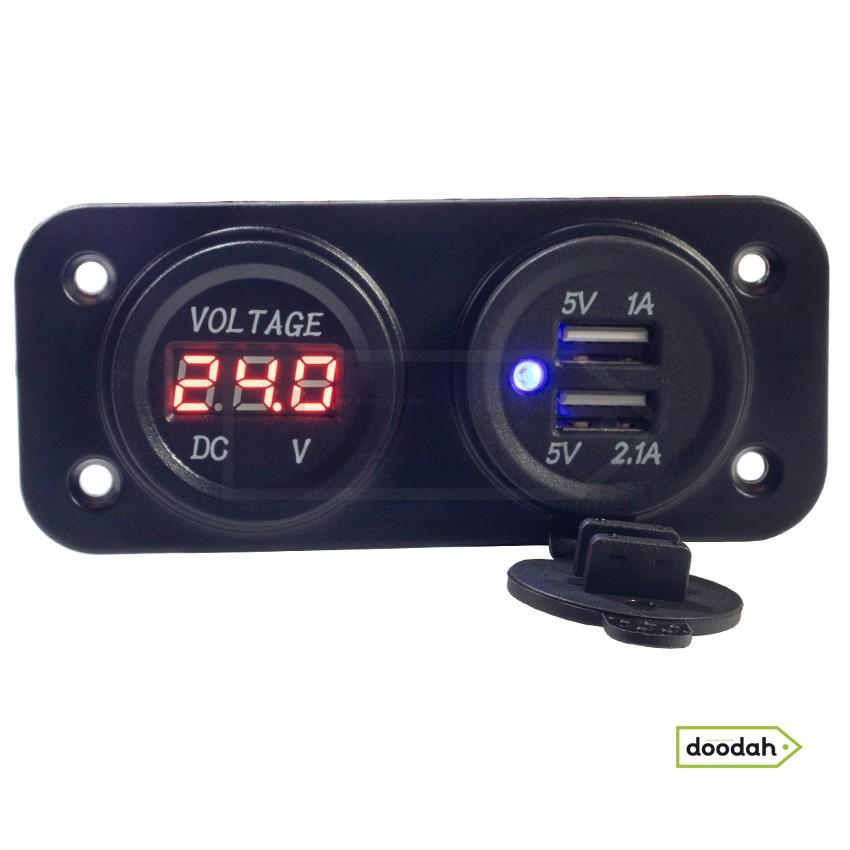 Авто / Мото USB зарядний пристрій - Recessed Twin Volt Red, IP54. Гарантія 6 міс.