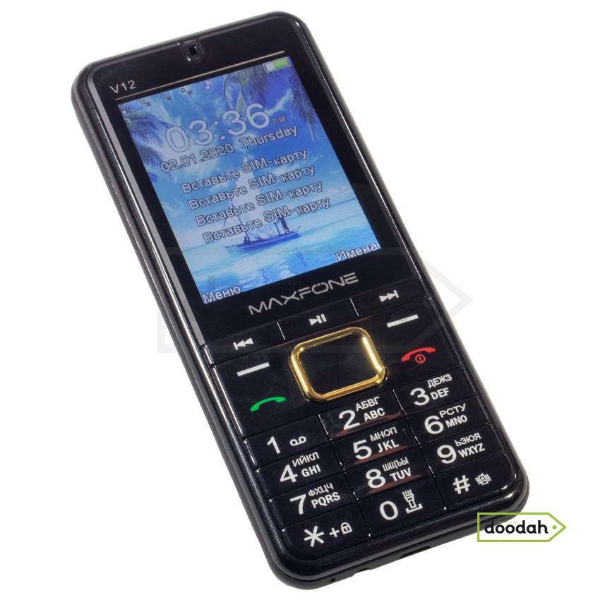 """Мобільний телефон на 4 sim карти - MAXFONE V12 Black, Ліхтар, 2,8 """", 2000мАч. Гарантія 6 міс."""