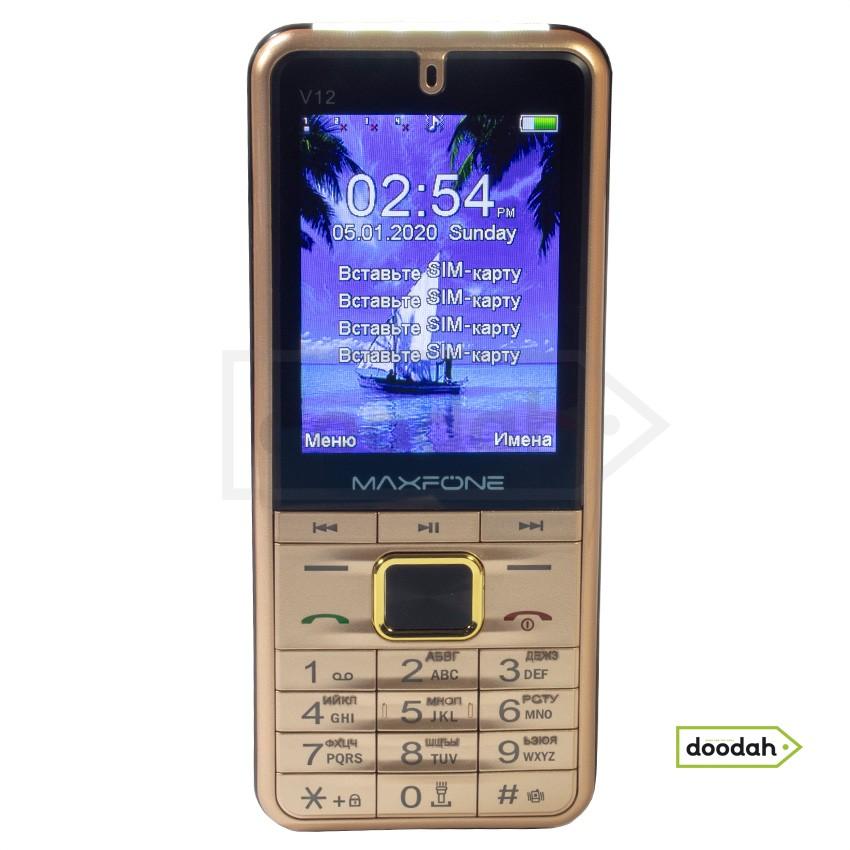 """Мобільний телефон на 4 sim карти - MAXFONE V12 Gold, Ліхтар, 2,8 """", 2000мАч. Гарантія 6 міс."""