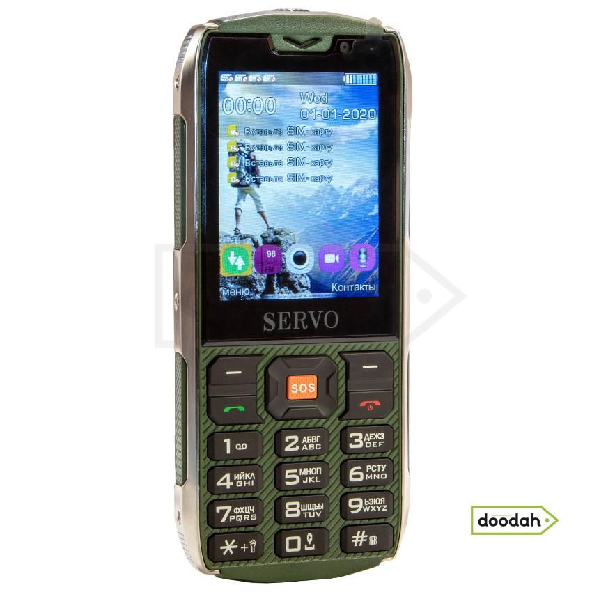 """Servo H8 Green - мобільний телефон 4 sim, 3500 mAH, 2,8"""", MP3-плеєр, GPRS, FM-радіо, Bluetooth, PowerBank. Гарантія 6 міс."""